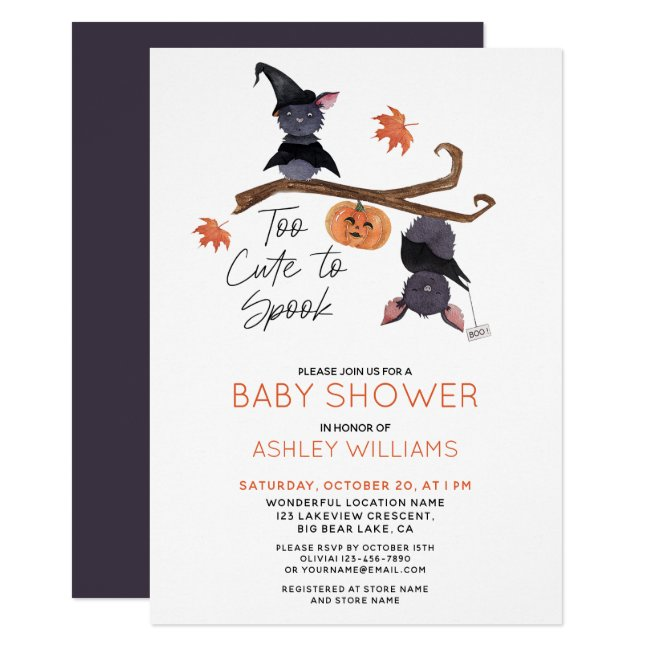 Too Cute to Spook Watercolor Bats Baby Shower Invitation