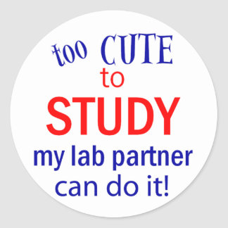 Too Cute to Study Classic Round Sticker