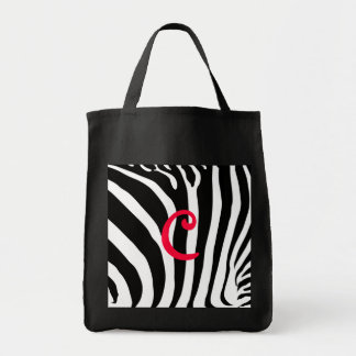 Too cute zebra print tote (with your inital) grocery tote bag