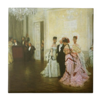 Too Early by James Tissot, Vintage Victorian Art Ceramic Tile