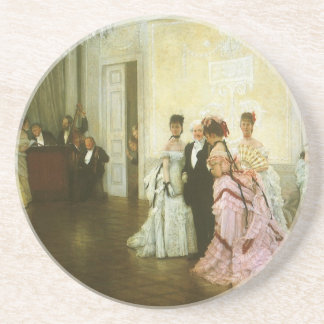 Too Early by James Tissot, Vintage Victorian Art Coasters