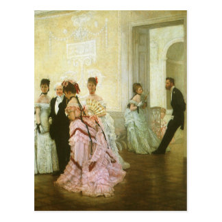 Too Early by James Tissot, Vintage Victorian Art Post Card