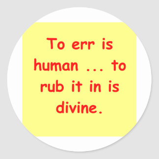 too err is human classic round sticker