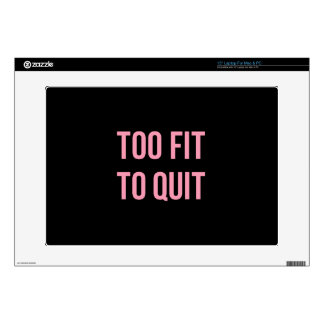 Too Fit Fitness Funny Quotes Black Pink Laptop Decals