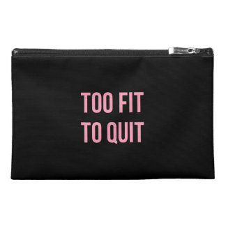 Too Fit Fitness Funny Quotes Black Pink Travel Accessory Bag