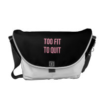 Too Fit Workout Funny Quotes Black Pink Gym Messenger Bag
