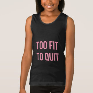 Too Fit Workout Quote Black Pink Gym Clothes Tank Top