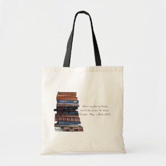 Too fond of books-old books with quote. budget tote bag