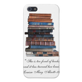 Too Fond of Books-Old Stack of Books Quote Case For iPhone SE/5/5s