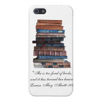 Too Fond of Books-Old Stack of Books Quote iPhone 5 Cover