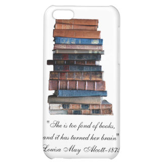 Too Fond of Books-Old Stack of Books Quote iPhone 5C Cover