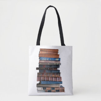 Too fond of books-Old Stack of Books w/quote Tote Bag