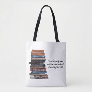 Too fond of books-Old Stack of Books with Quote Tote Bag