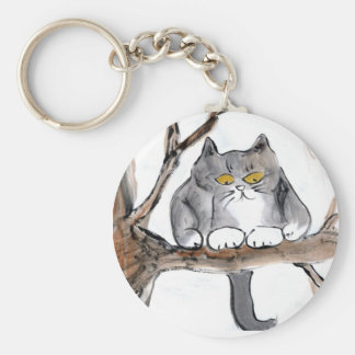 Too High - gray kitten in a tree, Sumi-e Keychain