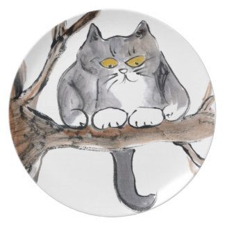 Too High - gray kitten in a tree, Sumi-e Melamine Plate