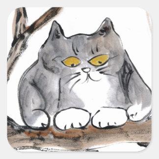 Too High - gray kitten in a tree, Sumi-e Square Sticker
