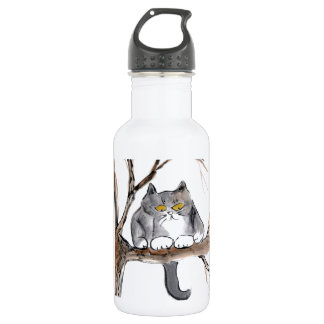 Too High - gray kitten in a tree, Sumi-e Stainless Steel Water Bottle
