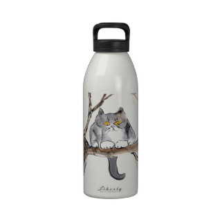 Too High - gray kitten in a tree, Sumi-e Drinking Bottle