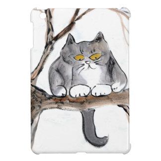 Too High in the tree, Kitten looks Worried. Sumi-e iPad Mini Covers