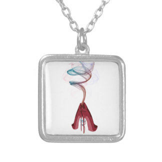 Too Hot Red Stiletto Shoes Art Silver Plated Necklace