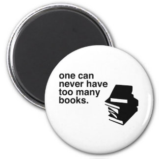 too many books 2 inch round magnet
