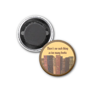 too many books art 1 inch round magnet