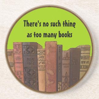 too many books humor sandstone coaster