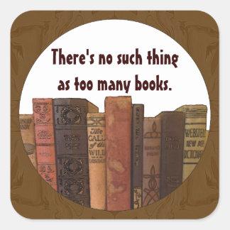 too many books square sticker