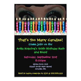 Too Many Candles Custom Drag Birthday Invites