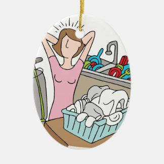 Too Many Chores Woman Ceramic Ornament