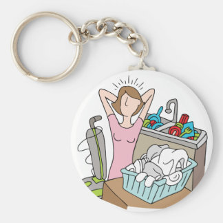 Too Many Chores Woman Keychain