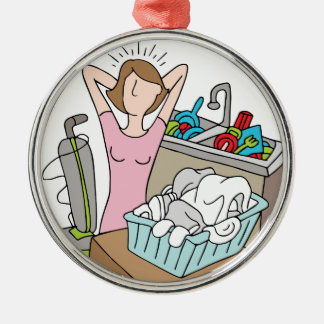 Too Many Chores Woman Metal Ornament