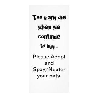 Too Many Die...Adopt Spay/Neuter rack cards