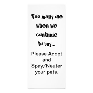 Too Many Die...Adopt Spay/Neuter rack cards