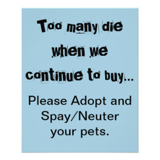 Too Many Die...Please Adopt and Spay/Neuter flyer