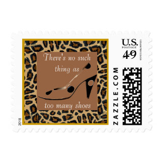 Too Many Shoes Slogan on Leopard Fur Postage