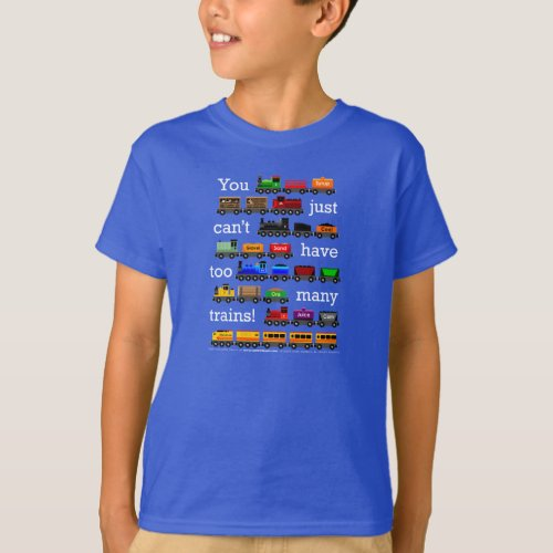 Too Many Trains on Dark Color T_Shirt