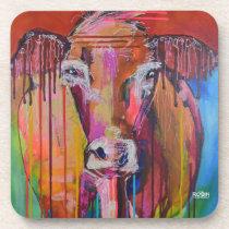 """Too Moo for Yoo III"" single cow Hard Plastic Coas Beverage Coaster"