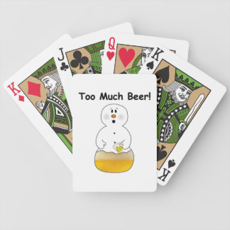 Too Much Beer Snowman Playing Cards