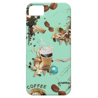 Too Much Coffee mint green brown beans mug cup iPhone SE/5/5s Case