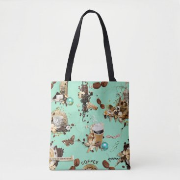 Coffee Themed Too Much Coffee mint green brown beans mug cup Tote Bag