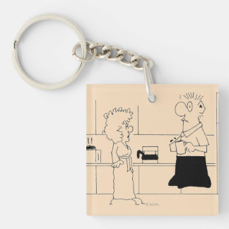Too Much Coffee Square Acrylic Key Chain