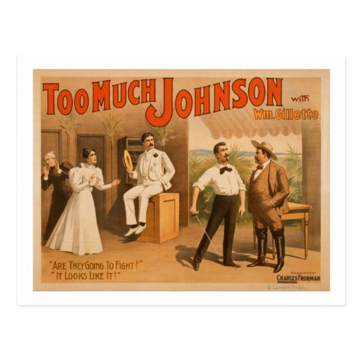 """""""Too much Johnson"""" - Two Men Fighting Theatre Postcards"""