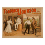 """""""Too much Johnson"""" - Two Men Fighting Theatre Posters"""