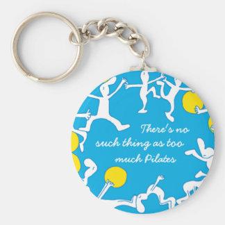 Too much Pilates keychain, blue Basic Round Button Keychain