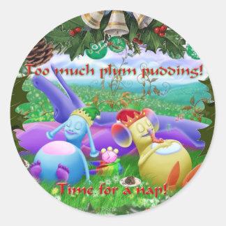 Too much plum pudding! classic round sticker