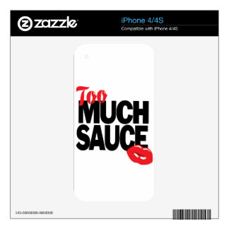 TOO MUCH SAUCE design iPhone 4 Skins