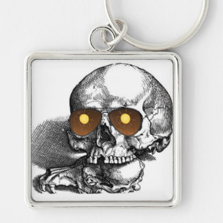 TOO MUCH SUN SKULL WITH SUNGLASSES PRINT KEYCHAIN