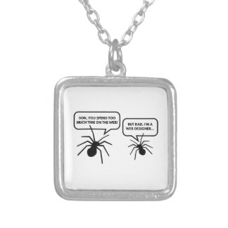 Too Much Time On The Web Silver Plated Necklace