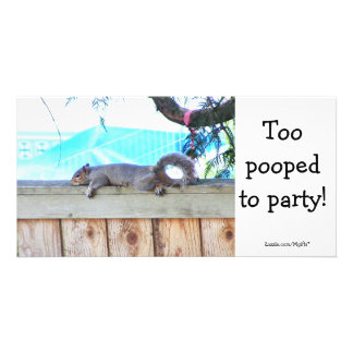 Too pooped personalized photo card